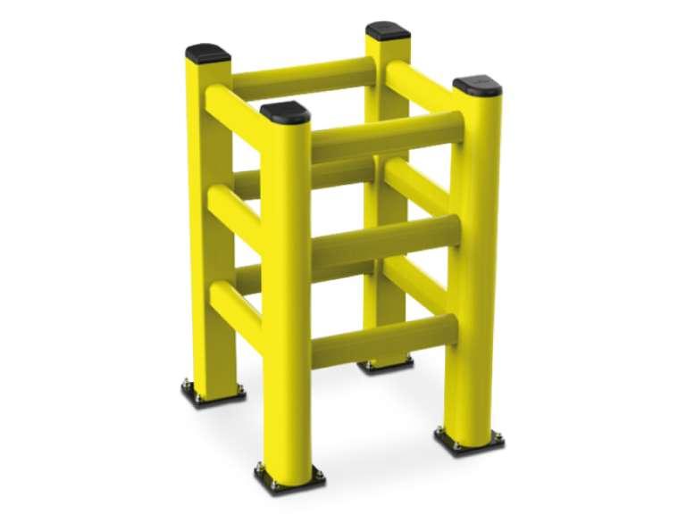Kunststof kolombescherming met 3 rails ter bescherming van vierkante palen en kolommen.