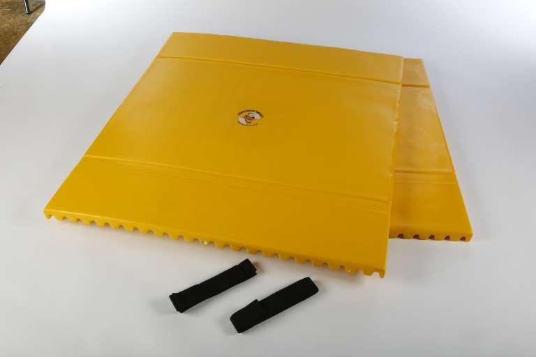 Kolombescherming, vervaardigd uit polyurethaan schuim, ter bescherming van bestaande betonzuilen.