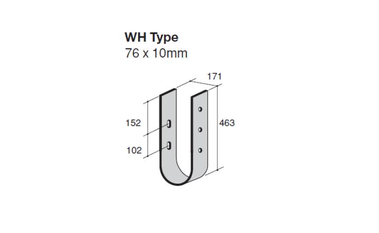 Verende muurbeugel type WH technische tekening ter bescherming van muren tegen aanrijding