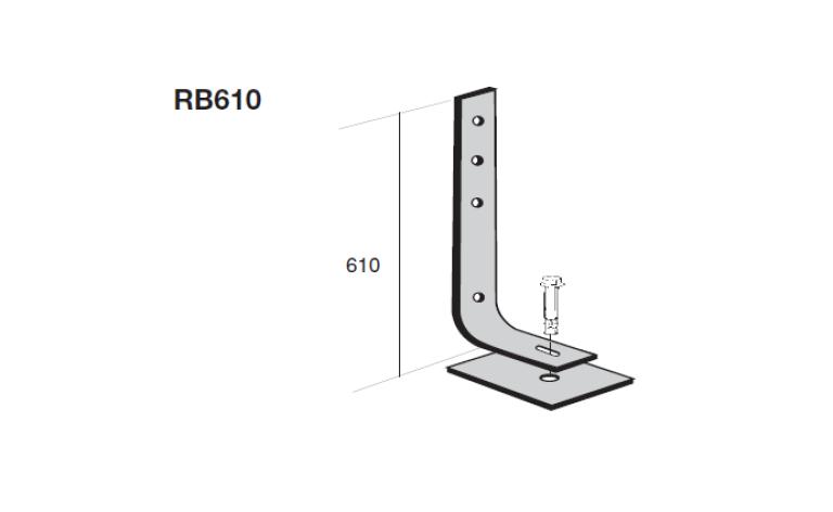 Verende vangrailconstructie type RB610 technische tekening tegen aanrijdingen voertuigen