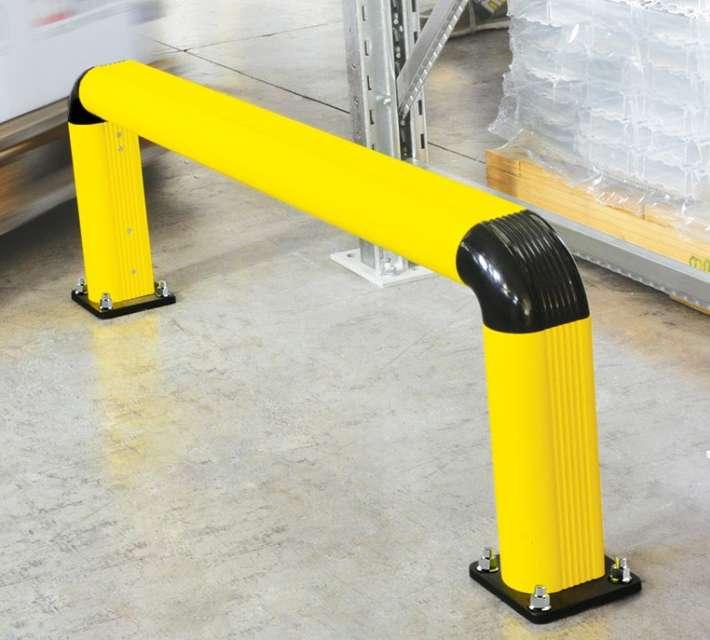 Kunststof rekbescherming, geschikt als aanrijdbeveiliging voor lichte voertuigen.