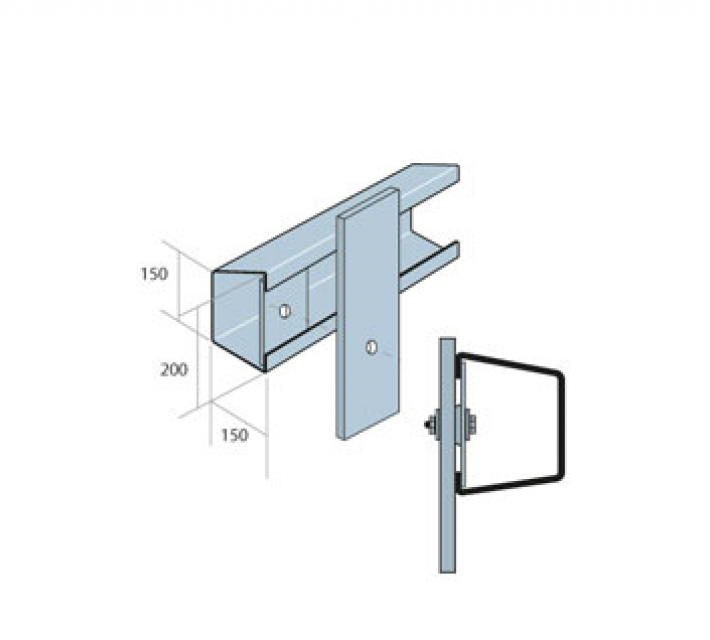 Verende stootbufferprofielOpen Box Beam technische tekening