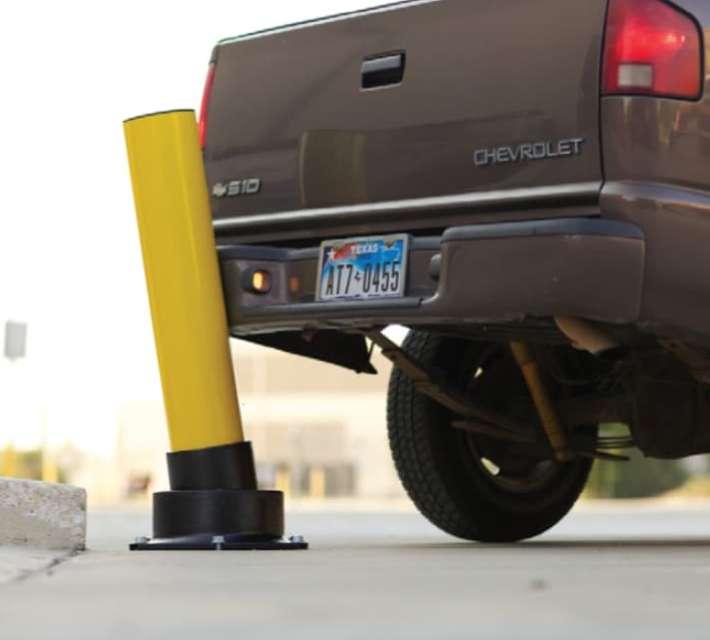 Energie-absorberende stalen stootpalen SlowStop type 3, geschikt als aanrijdbeveiliging voor zware toepassingen (zware heftrucks, vorkliften en vrachtwagens).