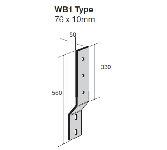 Verende muurbeugels type WB1 technische tekening ter bescherming van muren tegen aanrijding