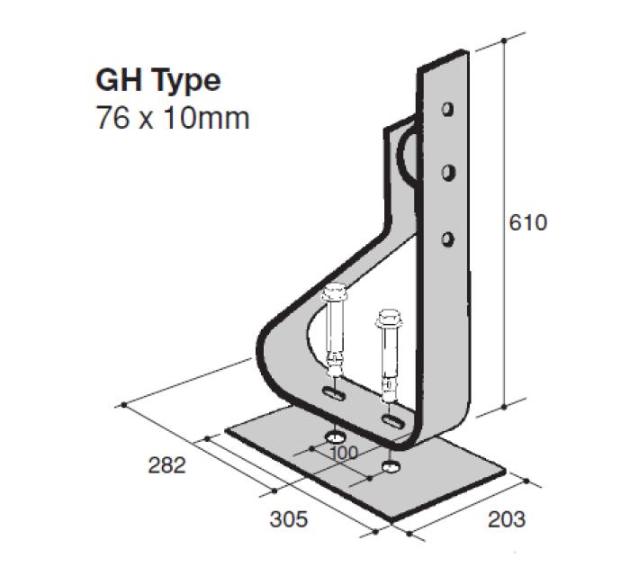 Verende stootbuffer Type GH1 technische tekening geschikt voor de bescherming van infrastructuur tegen aanrijding