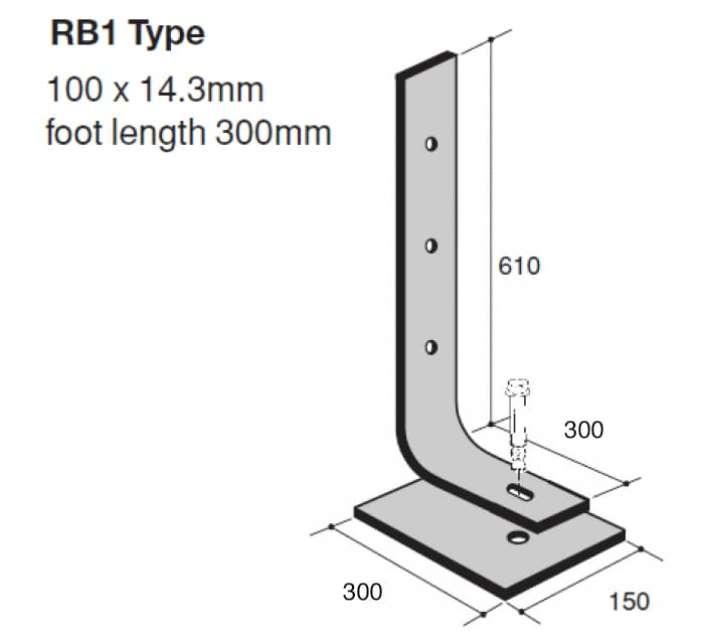 Verende stootbuffer type RB1 technische tekening voor bescherming van infrastructuur tegen aanrijding