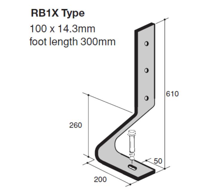 Verende stootbuffer type RB1X technische tekening geschikt voor de bescherming van infrastructuur tegen aanrijding