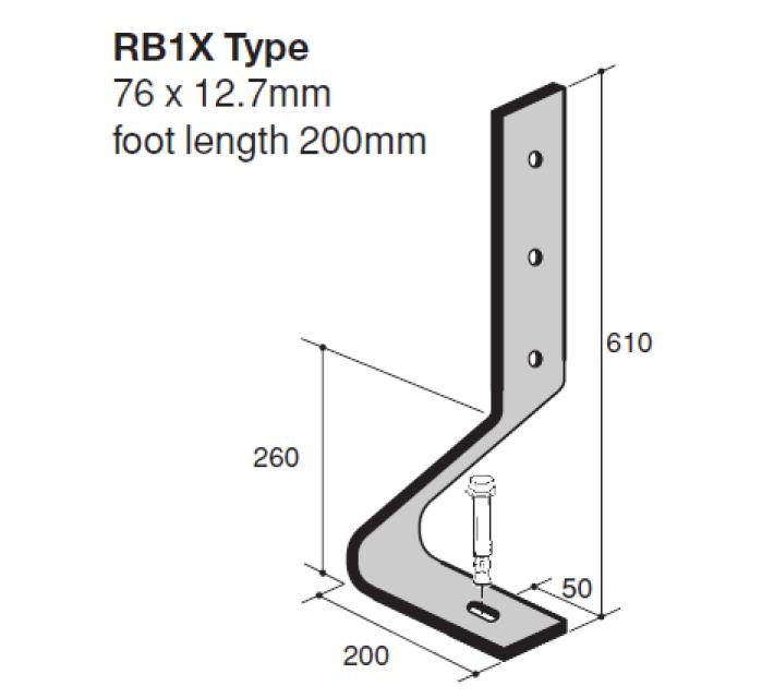 Verende stootbuffer type RB1X (76x12,7mm) technische tekening geschikt voor de bescherming van infrastructuur tegen aanrijding